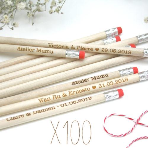 cadeaux invités crayons