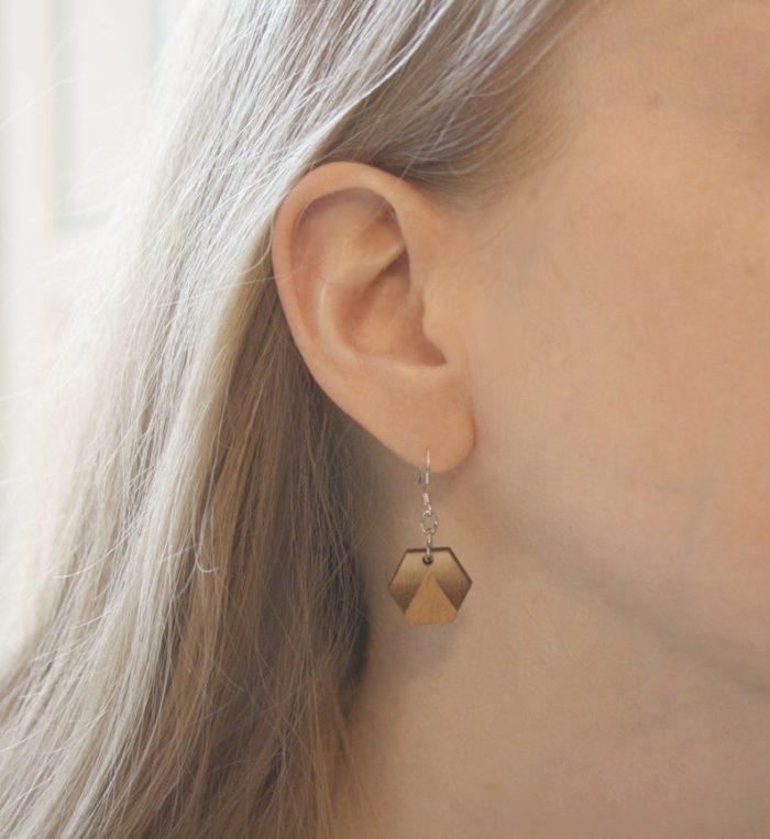 boucles d'oreilles bois