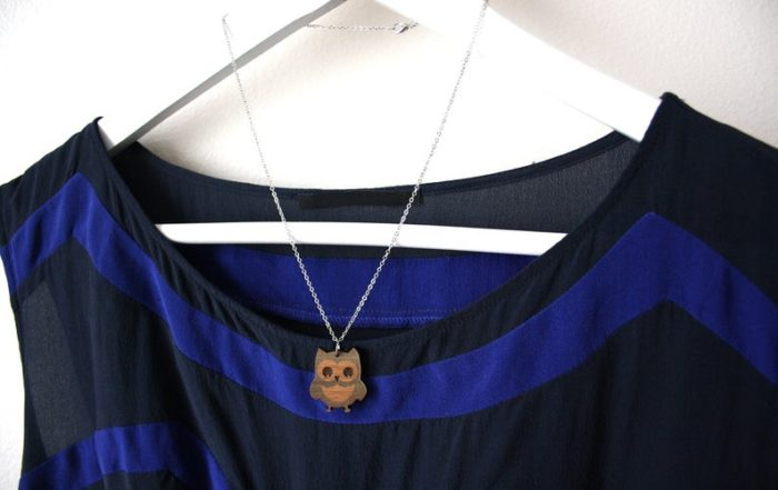 collier bois hibou